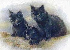 bumble button: Vintage black cats