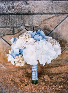 blue hydrangeas and a seersucker bouquet wrap - be still my southern heart