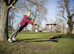 TRX outside chest workout.