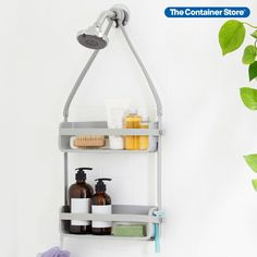 Organize your bath essentials of all shapes and sizes with the smart design of our Flex Shower Caddy by Umbra. Its silicone bands allow your larger bottles to fit securely while its four pour spouts allow you to turn almost-empty bottles upside down to get the most out of your product! Bathtub Shower, Empty Bottles, Smart Design, Bathroom Organization, Small Spaces, Larger, Organize, Essentials, Exercise