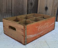 Vintage Coca Cola Crate, Wood, Six Compartments, Red, 1960s by UpswingVintage on Etsy