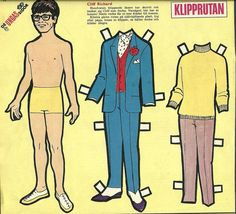 Swedish paper doll of Cliff Richard 1968