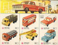 Matchbox Lesney 1969 catalog Page 7, Matchbox regular wheels 4: Stake Truck; 5: London Bus; 6: Ford Pick-up; 10: Pipe Truck; 11: JumboCrane; 12: Safari Land-Rover