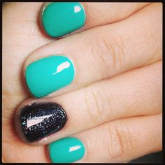 Teal and black nails