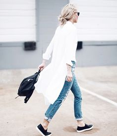 distressed jeans & white shirt dress | happily grey