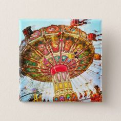 Vintage yellow carnival swing ride photo button - red gifts color style cyo diy personalize unique