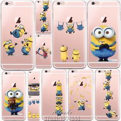 Cute Despicable Me Yellow Minion Design Cover Sofe Minions Case For iphone 6 6s 5 5s SE 7 plus Transparent Silicone Coque Fundas