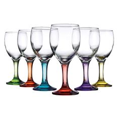 6 Piece Carnivale Wine Glass Set // welcome to my current obsession with coloured glassware. why? they are so practical - every guest picks a colour and no one forgets which glass belongs to who! #productdesign #designinspiration