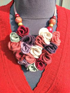 Heart shaped statement necklace from reclaimed wool sweaters.