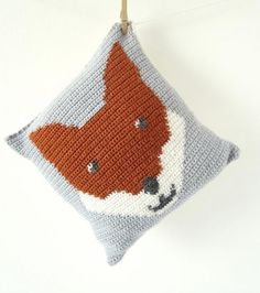 Fox cushion #crochet pattern for sale by Little Doolally via LoveCrochet.