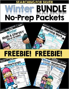 No-prep packets sampler! A selection of each of the winter packets! Morning Work, Math & Literacy, Handwriting, Writing Prompts
