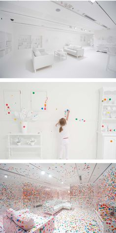 art installation by Yayoi Kusama - white room covered in rainbow stickers by children who visited the gallery