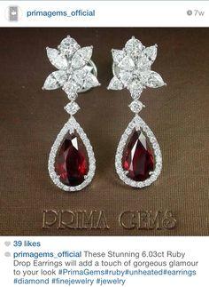 Stunning 6.03 ruby drop & Diamond earring by Prima Gems Siam Paragon / Emporium