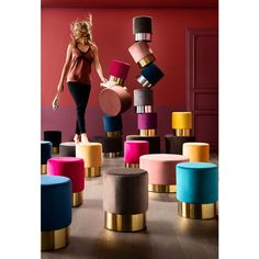 Stool Cherry Black Brass Ø35cm - KARE Design Kare Design, Clean My Space, Furniture Cleaner, Estilo Retro, Green Velvet, Room Paint, Messing, House Colors, Blue And Silver
