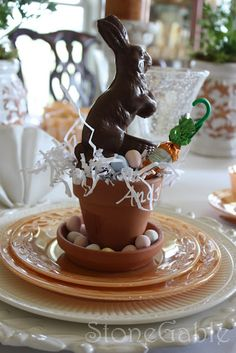 Easter morning, at each family members place setting, fill small terra cotta pot with white grass, choc bunny, candy eggs and candy carrot.