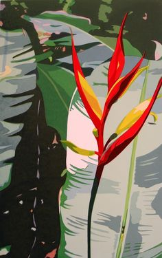 Zatista Limited Edition 'Heliconia' by Anne Silber Painting Print Long Tee, Painting Prints, Art Prints, Garden Illustration, Exotic Plants, Silk Screen Printing, Tropical Garden, New Artists, Art Inspo