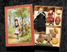 Landmark, The Margaret Lumia Collection: 20 German Presentation of Little Red Riding Hood in Box with Accessories Guys And Dolls, Tiny Dolls, Vintage Barbie Dolls, Bear Toy, Vintage Games, Retro Toys, Antique Toys, Red Riding Hood, Cute Crafts