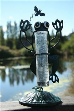 As a gardener Rain Gauges are a great way to keep track of how much water your plants are getting to ensure you dont over-water them. Our line of decorative rain gauges provide both the functionality you need and an attractive form to spruce up your yard. This fun and friendly design featuring a googly-eyed forest green frog and crystal clear glass vial stands 12 inches tall and is a great center piece to a picnic table.  #raingauge #raingauges #gardendecor