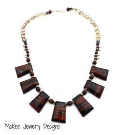 Red tigers eye, jasper, silver, hematite, Smokey quartz gemstone necklace. -  - McKee Jewelry Designs - 1