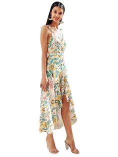 7d9aaa200fa Simplee Apparel Women s Strap Ruffle Cold Shoulder Floral Print Wrap Maxi  Dress Beach