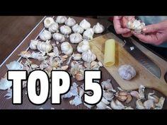 Top 5 Food Life Hacks - How To Peel Garlic. Today I'll show you top 5 food life hacks or 5 best ways to peel garlic.