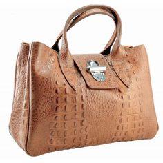 Italian Made, Genuine Leather Handbag, Crocodile Print - Aara Cognac Sky How To Make Handbags, Melbourne Australia, Crocodile, Leather Handbags, Buy Now, Reusable Tote Bags, Italy, Sky, Stuff To Buy