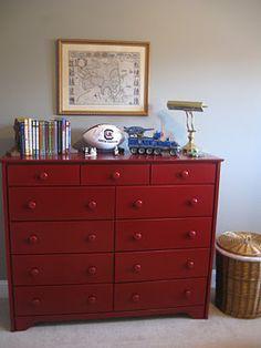 boys room, red dresser