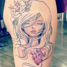 Audrey Kawasaki tattoo in progress. by Ally Riley at Dangerzone Tattoo