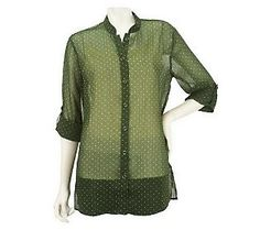 Love how Susan Graver combined two great trends, the #ColoroftheYear and Polka Dots, in this beautiful #Emerald Printed Chiffon Button Down Shirt.
