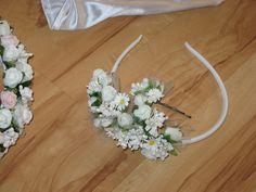 Komunia wianek jak żywy kwiaty opaska rękawiczki.