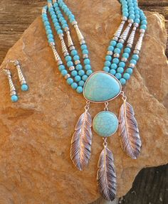 Cowgirl Gypsy Boho Feathers Chunky Turquoise Tribal Southwest  Necklace set #true