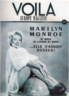 Voila - 1954, magazine from France. Front cover photo of Marilyn Monroe by Frank Powolny, 1952.