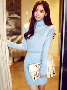 Fall and Winter Korean Slim Ulzzang Style Clothes Fashion Store Outfits High Collar Long-Sleeved Cashmere Knit Bodycon Dress