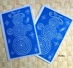 Modré zimní přání / Zboží prodejce PeMa | Fler. Winter Art, Winter Theme, Art For Kids, Crafts For Kids, January Art, Preschool Christmas, School Art Projects, Create And Craft, Art Plastique
