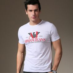 Find More T-Shirts Information about O Neck Famous Fashion Designer High quality Short Sleeve Men's T shirt Popular in Americ Hot sales,High Quality shirt printing machine for sale,China shirt fashion Suppliers, Cheap sleeve underwear from Name Brand Fashion Factory on Aliexpress.com Armani Brand, Fashion Brand, Fashion Design, Branded T Shirts, Shirt Style, Underwear, Printing, China, Popular