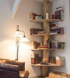cool 122 Cheap, Easy and Simple DIY Rustic Home Decor Ideas www.architectureh… The post cool 122 Cheap, Easy and Simple DIY Rustic Home Decor Ideas www.architectureh…… appeared first on Suggestions. Tree Bookshelf, Corner Bookshelves, Bookshelf Design, Rustic Bookshelf, Bookshelf Ideas, Tree Shelf, Small Bookshelf, Book Shelves, Bookshelf Decorating