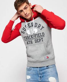 Shop Superdry Mens Trackster Baseball Hoodie in Trophy Grey Grit/upstate Red. Buy now with free delivery from the Official Superdry Store. Superdry Style, Superdry Mens, Rugged Style, Style Brut, Cool Hoodies, Baseball, Mens Sweatshirts, Designer Wear, Pulls