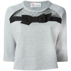 Red Valentino bow appliqué sweatshirt (€290) ❤ liked on Polyvore featuring tops, hoodies, sweatshirts, grey, gray sweatshirt, gray top, applique sweatshirts, red valentino top and grey top