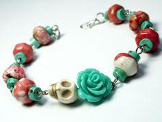 Day of the Dead Green Turquoise Rose Frida Kahlo's Flower Jewelry Pink White Sugar Skull Bracelet
