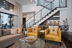 Neo-Prairie Style Parade Home eclectic living room (Repisas blancas para estudio)