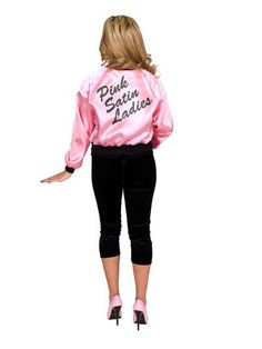Check out Printed Pink Ladies Satin Jacket Costume - Womens 50s Costumes from Anytime Costumes