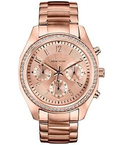Caravelle New York by Bulova Women's Chronograph Rose Gold-Tone Stainless Steel Bracelet Watch 36mm 44L117 - Watches - Jewelry & Watches - M...