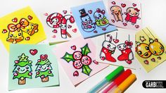 Merry Christmas - Easy Drawings and Kawaii by Garbi KW Christmas Images For Drawing, Christmas Images Wallpaper, Christmas Crafts, Merry Christmas, Christmas Time, Christmas Ideas, Holiday, Videos Kawaii, Winter Art Projects