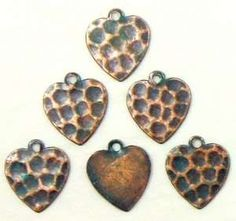 Brass Heart Stamping, Charm, Hammered, Aqua Copper Patina, 12 x 12mm