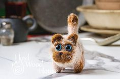 Felted Cat Art Doll Needle Felting Animal Wool Sculpture Miniature Doll Eco-friendly cat figurine Funny Brown Cat