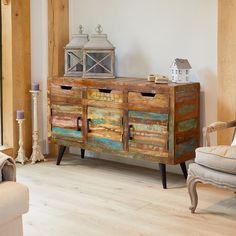 The Baumhaus Coastal Chic Large Sideboard is a quirky piece of furniture made from colourful reclaimed wood. Includes 3 drawers and 3 cupboards Reclaimed Timber, Reclaimed Wood Furniture, Solid Wood Furniture, Timber Furniture, Pallet Wood, Industrial Furniture, Painted Furniture, Furniture Ideas, Large Sideboard