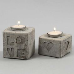 Cast Candle Holders with Letters