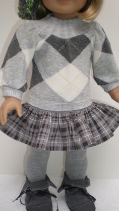 GRAY PLAID RUFFLED Skirt fits American Girl 18 inch doll on Etsy, $11.11 CAD