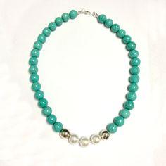 Turquoise & Pearl Necklace  Gemstone Jewelry  by jewelrybycarmal, $72.00