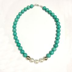 Turquoise & Pearl Necklace - Gemstone Jewelry - Sterling Silver - Fresh Water Pearl - Chunky - Beaded